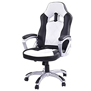 Giantex high back racing style bucket seat for White bucket dining chairs