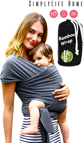 Simple Being Baby wrap Sling Carrier, Stretchy Bamboo Fabric, Soft Breathable Lightweight for Infants, New-Borns, Toddlers. Hypoallergenic, ergonomically Designed, one Size (Grey) (New Baby Toddler Sling Carrier)