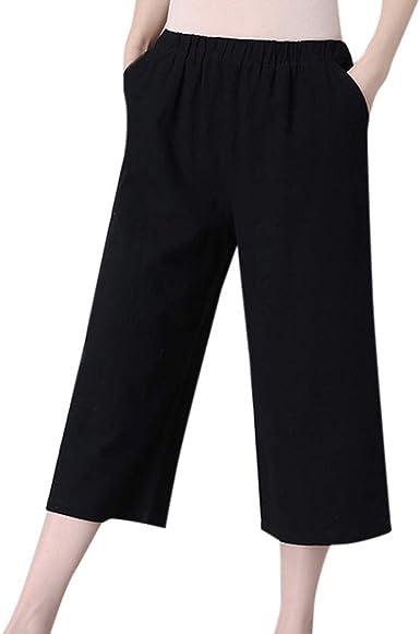 cinnamou Pantalones Mujer, Casual Pantalones Chinos De Lino Y ...