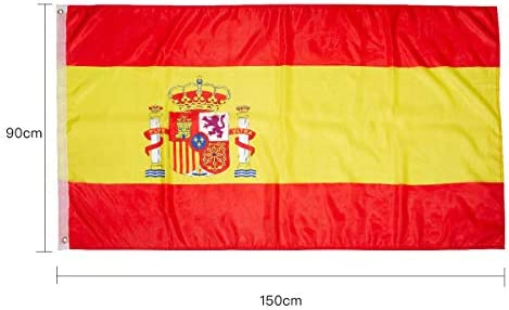 Hollylife Pack de 3 Banderas Grandes de España, 150 x 90 cm, Anti UV y Viento, con 2 Ollados Laterales Izquieras, para Asta de Bandera Festivales Procesión Jardín Exterior: Amazon.es: Jardín