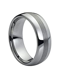 8mm High Polish Brushed Center Domed Tungsten Carbide Wedding Band