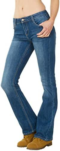 Mid Rise Faded Bootcut Flared Stretch Jeans - Blue