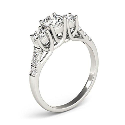 JewelMore 14k White Gold Three-Stone Engagement Ring (0.50 Carat, I-J Color, I2-I3 Clarity) (7) by JewelMore (Image #3)