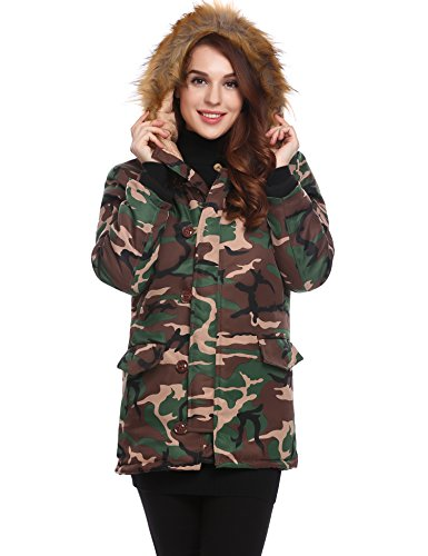 ed Faux Fur Parka Military Camouflage Long Coat With Pockets (Camouflage Hooded Parka)