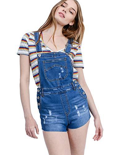 Design by Olivia Women's Distressed Raw Edge Cotton Denim Overall Shorts Medium Denim S