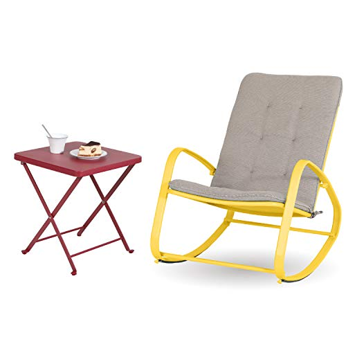 Sophia and William Outdoor Patio Rocking Chair Folding Patio Side Table Rocker Chair with Small Square End Tables (Yellow&Red)