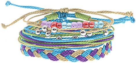 Yellow and Blue Pink The Lizzie Woven Friendship Bracelet Black