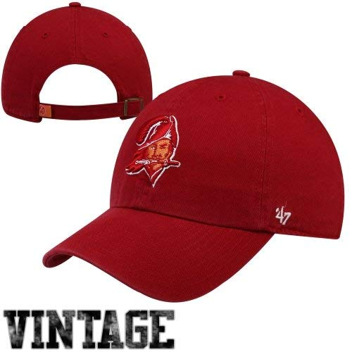 NFL Tampa Bay Buccaneers '47 Brand Clean Up Adjustable Hat (1976 Logo), Red, One Size