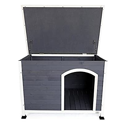 A4Pet Weather Protected Outdoor Wooden Dog House with Hinged Top