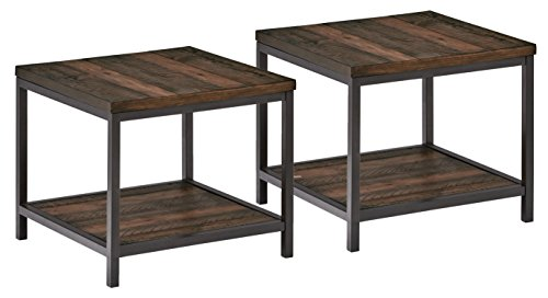 Stone & Beam Larson Industrial Wood & Metal Side End Table, 22