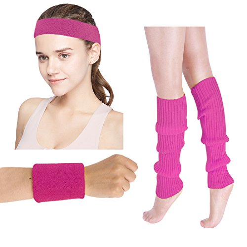 Women's 80s Costumes Accessories Neon Headband Wristband Leg Warmers Set for 1980s Theme Party Supplies(Rose Red)