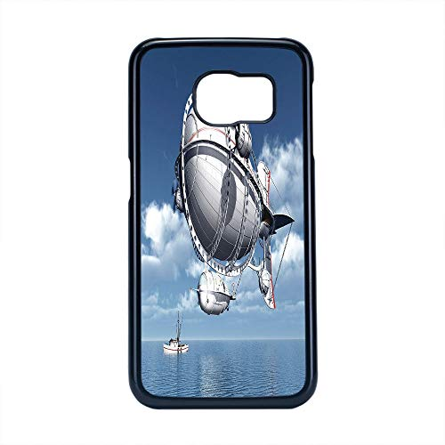 Cell Phone Case Compatible Samsung Galaxy S6 Edge,Zeppelin Decor - Hard Plastic Phone Case/Black - Giant Aircraft Over The Sea Flying Cloudy Sky Adventure Journey Image
