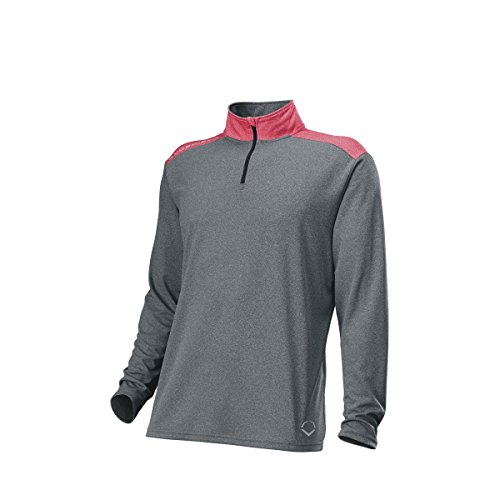 EvoShield Mens Pro Team 1/4 Zip - Adult, Charcoal/Scarlet, X-Large