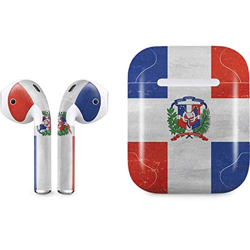 Skinit Dominican Republic Flag Distressed Apple AirPods Skin - Original Skinit Studios Designed Audio Sticker - Thin, Case Decal Protective Wrap for Apple AirPods Gen 1