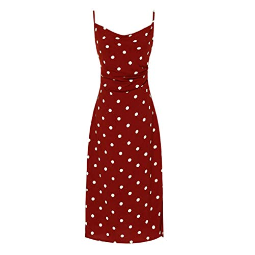 (Women's Summer French Retro Sleeveless Long Maxi Dress Bottoming Point Sling Dress Red)