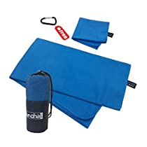 alamoha Microfiber Sports Travel Towel Sets- Antibacterial Lightweight Compact Absorbent Quick Dry Swimming Beach Towel (160x81cm) with Hand Foot drying towel (30x50cm)-Ideal for Outdoors Travelling Camping Hiking Swim Backpacking Gym Yoga &FREE Storage meshbag