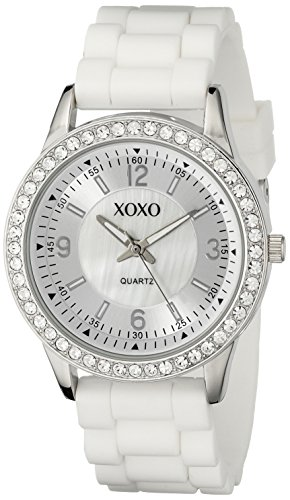 XOXO Women's XO8039 White Bumpy Silicone Rubber Strap Watch