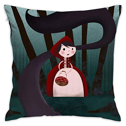 Throw Pillow Covers Little Red Riding Hood And Big Wolf 18 X 18 Inches Cushion Sham For Couch Bed Sofa Painted Colorful Geometric Print Daily Decorations For Home D¨¦cor Square Coastal Cushion Cover ()