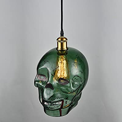 Skull pendant Lighting, MKLOT Art Nordic Creative Retro Ceiling Pendant Fixtures Light Lamp Bars Cafes Restaurants Glass Shade Simple Single-Head