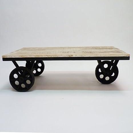Ruote In Metallo.Made In Meubles Tavolino A Ruote Metallo E Legno 100 X 50