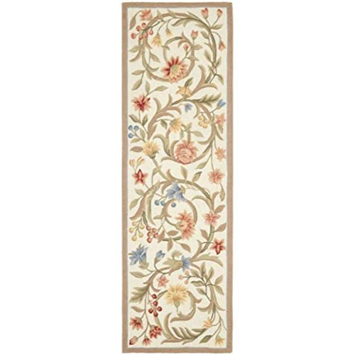 2'6 x 6' Beige Red Flower Theme Runner Rug Rectangle, Light Blue Brown Floral Pattern Hallway Carpet Flowers Scroll Motif French Country Scrolls Entryway Entrance Way Kitchen, Polypropylene ()