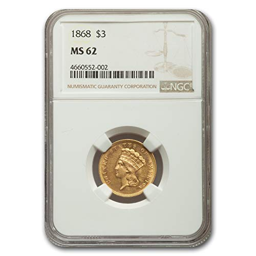 1868 $3 Gold Princess MS-62 NGC $3 MS-62 NGC