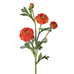 "Floral Home Silk Baby Ranunculus in Orange - 20"" Tall - Set of 2 101"