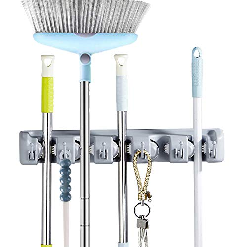 GTHUNDER Mop Broom Holder 5 Position 6 Hooks Garden Tool Wall Mount Storage Solution Decor for Garage,Garden and Laundry Offices