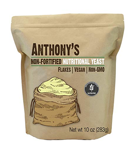 Anthony's Premium Nutritional Yeast Flakes (10oz), Non-Fortified, Batch Tested & Verified Gluten Free, Non-GMO