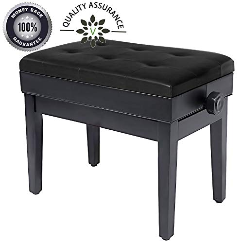 Adjustable Piano Bench Wooden Piano Stool with Music Storage & Height Adjustable- PU Leather and Solid Wood (Black)
