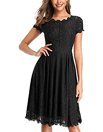 92c3f3b369 OWIN Women's 1950s Vintage Retro Floral Cocktail Party Swing Dress with  Lace Neck