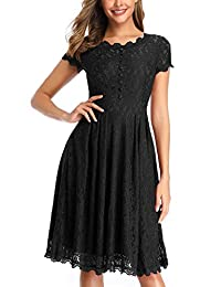 OWIN Women's Retro Floral Lace Cap Sleeve Vintage Swing Bridesmaid Dress