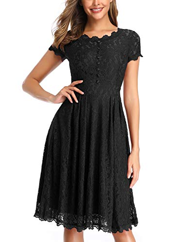 (OWIN Women's Retro Floral Lace Cap Sleeve Vintage Rockabilly Swing Prom Party Bridesmaid Dress Black)