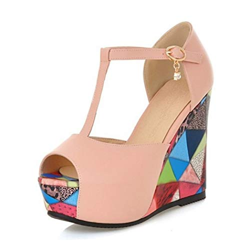 ZKYSO Women's Chunky Platform Wedge Graffiti Sandals Peep Toe Fashion T Strap High Heel Party Dress Sandal Pink ()