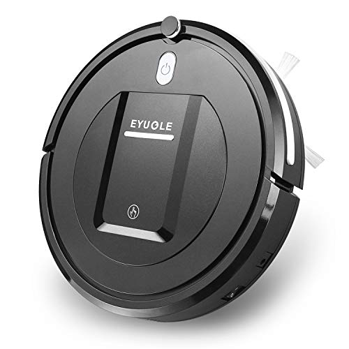 EYUGLE Robotic Vacuum Cleaner, Slim Design, Higher Suction w/Anti-Collision& Drop Sensing Tech for Low-Pile Carpets and Hard Floor, w/HEPA Filter Good for Pet Hair