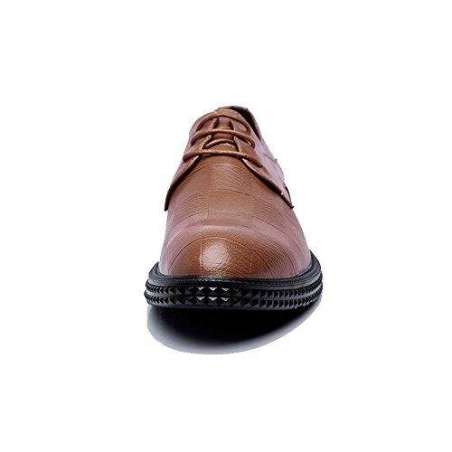 Marrón Mocasines Cuero Cuadrada Suela Hombres De La Pu Y Textura Cómodo Formales Cuadrados Zapatos Oxford Zx Negocios Cordones WzTHBn