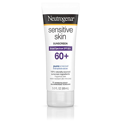 Neutrogena Sensitive Skin Sunscreen Lotion with Broad Spectrum SPF 60+, Water-Resistant, Hypoallergenic & Oil-Free Gentle Sunscreen Formula, 3 fl. oz