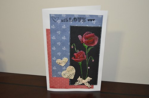 Handmade greeting card with exquisite hand painted flowers and decorated with craft material, can be used for Birthday, Anniversary and other romantic occasions! from Mango Designs