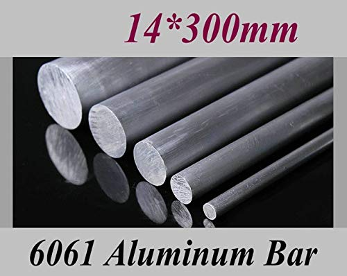 Ochoos Diameter 10mm 14mm 18mm Length 300mm Aluminum 6061 Round Bar Aluminium Strong Hardness Rod for Industry or DIY - (Color: Diameter 14mm) ()