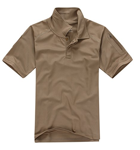 Men's Militray Stand Collar Polo Shirt Hunting Short Sleeve Pullover,Sand,US Large