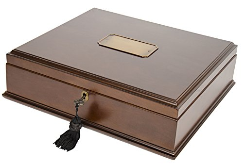 (Large Romeo Memory Box Organizer Mahogany Wood Finish for Photo Album CD DVD USB & other Valuables Size 14 x 12 x 5 Inches)