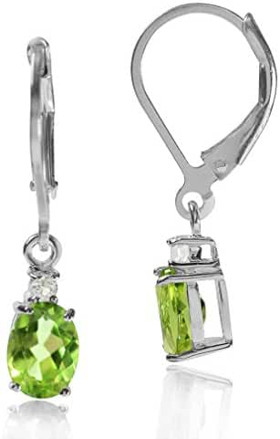 1.74ct Natural Peridot & White Topaz 925 Sterling Silver Leverback Earrings