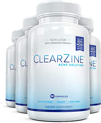 ClearZine Acne Pills for Teens & Adults (4 Bottles) | Clear Skin Supplement, Vitamins for Hormonal & Cystic Acne | Stop Breakouts, Oily Skin with Milk Thistle, Pantothenic Acid & Zinc, 90 Caps Each