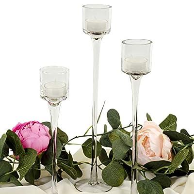 Koyal Wholesale Long Stemmed Tealight Candle Holder, Set of 3, Pedestal Tea Light Glass Candle Holders, Candle Table Runner Display for Wedding Centerpiece Table, Fall Table Centerpiece, Bridal Shower