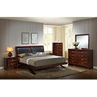 Roundhill Furniture Emily 111 Wood Arch-Leg Bed Group, King Bed, Dresser, Mirror, 2 Night Stands, Chest, Mahogany, Merlot