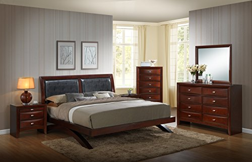 Roundhill Furniture Emily 111 Wood Arch-Leg Bed Group, King Bed, Dresser, Mirror, 2 Night Stands, Chest, Mahogany, Merlot ()