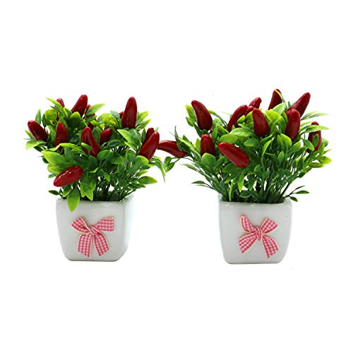 Monrocco Set of 2 Artificial Potted Chili Plant Life-Like Mini Potted Fake Green-Leaf for Flower Arrangement Home Décor and Office ()