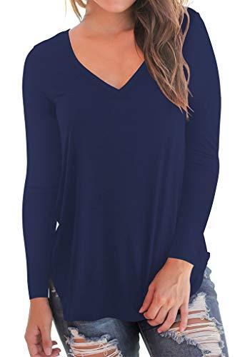 shirt V Blue A Tee Corta Long Dasbayla Sleeve Magliette Donna Con Manica navy T Basic Irregolare Scollo vqnTpWYgw