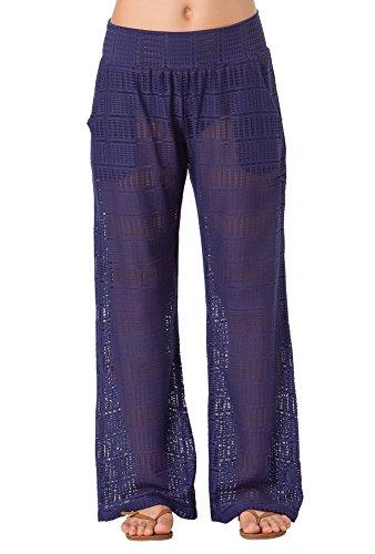 Anne Cole Women's Color Blast Lace Crochet Pocket Pant Cover Up Swimsuit-L-AC16_Navy