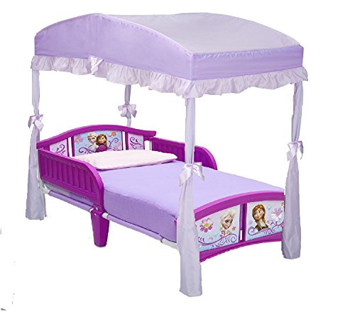 Delta Children Plastic Toddler Bed, Disney Frozen And Canopy for Toddler Bed, Purple